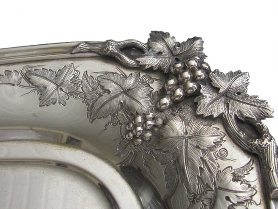 Dutch silver salver (detail grape vines)