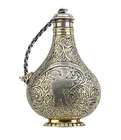 Silver Gilt Engraved Perfume Bottle