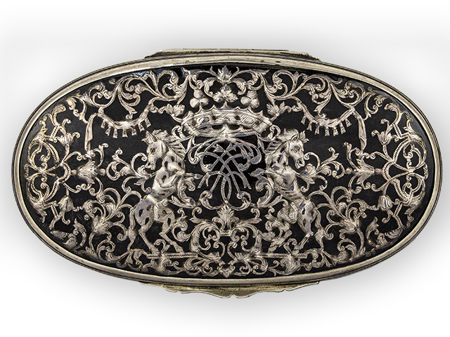 Tortoiseshell Silver mounted Tobacco Box with a Silver inlaid Monogram.