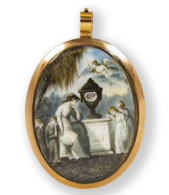 Sentimental hairwork pendant, mother and children mourning at memorial monument preview