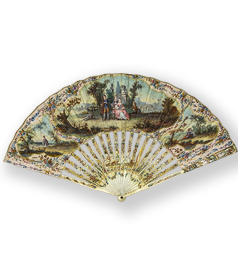 Dutch painted paper and carved bone folding fan set with miniature portraits detail preview