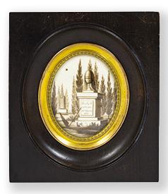 Dutch sentimental hairwork miniature, dated 1825 preview