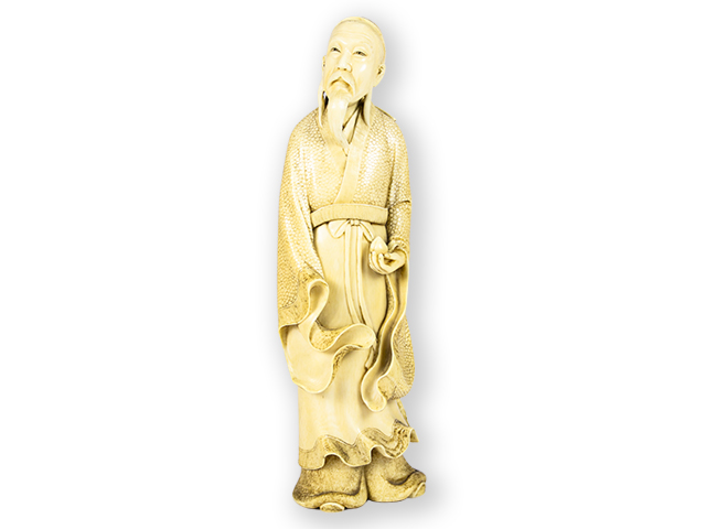 Carved-Ivory-Okimono-of-Japanese-Immortal-Lu-front