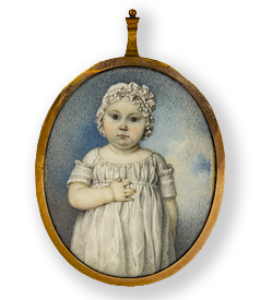 Miniature portrait of a young todler, the backside with sentimental hairwork preview