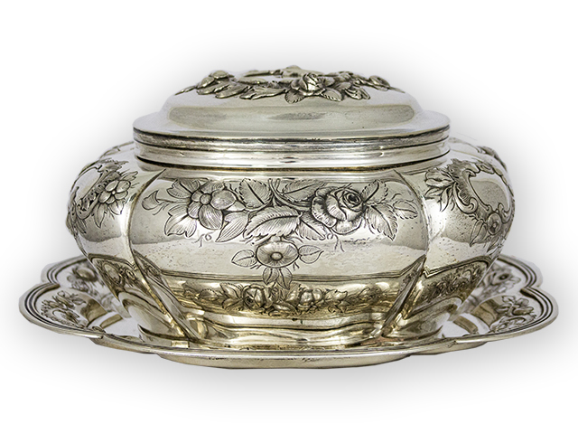 Dutch Silver Biscuit/Cookie Jar on a Salver with embossed flowers