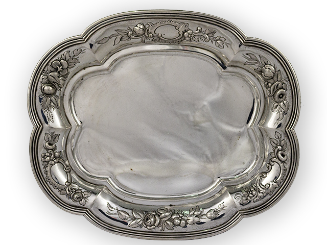 Salver with embossed flowers