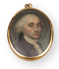 Portrait-miniature-18crt-gold-frame-3,5x2,8cm-car