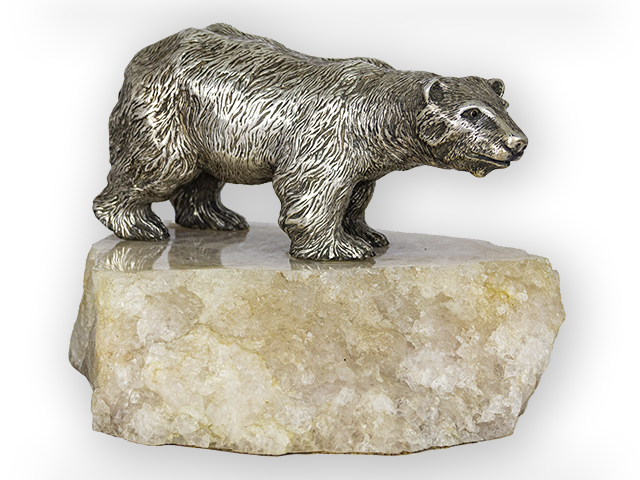 Russian Silver Polar Bear on a white quartz basement