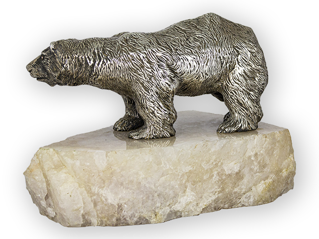 Polar Bear on a white quartz basement
