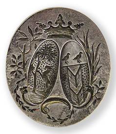 Steel seal with family marriage crest in original leather case. The Netherlands ca. 1800 preview