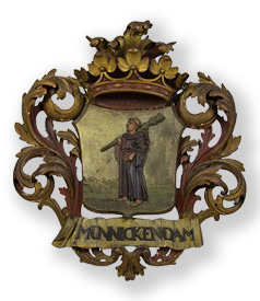 A carved pinewood shield with crest: Munnickendam ca. 1750-1800 preview