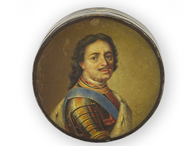 Laquerwork metal snuffbox with the portrait of Tsar Peter the Great