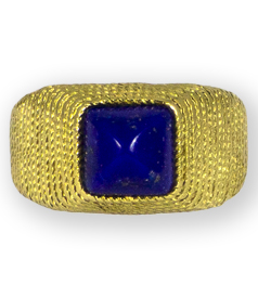 Antique-Etruscan-style-gold-ring-set-with-point-cut-lapis-lazuli-preview