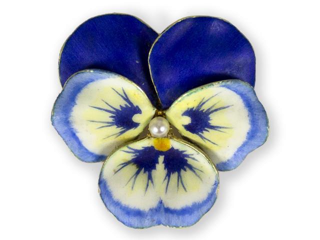 Art-Nouveau-14kt-enamel-blue-pansy-brooch-by-Hedges-New-York