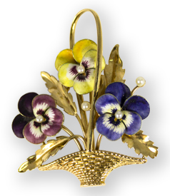 preview gold flower basket brooch with enamelled Pansy's